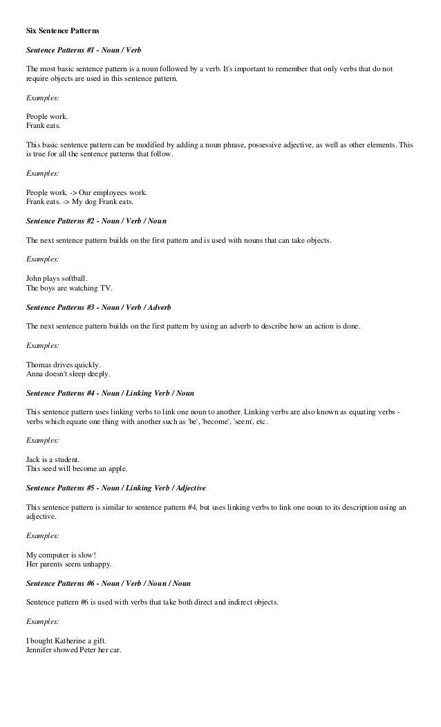 Sentence Pattern With Images Basic Sentence Pattern Sentences