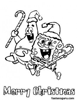Printable Spongebob Merry Christmas Coloring Pages Print
