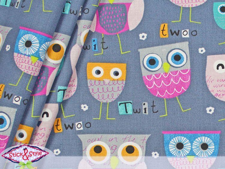 Stoff TwitTwit - Eule grau - extra breit / fest von Stick and Style auf DaWanda.com