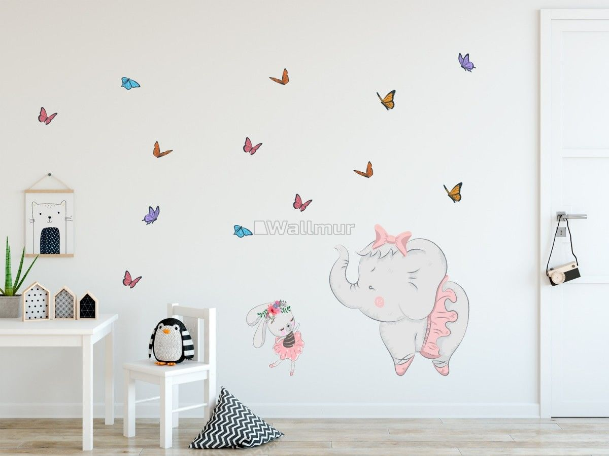 Kids Pink Ballerine Elephant And Bunny With Little Butterflies