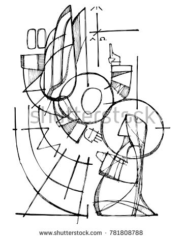 Hand Drawn Vector Ink Illustration Or Drawing Of Virgin Mary And