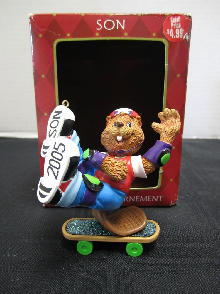 Attractive American Greeting Christmas Ornaments Part - 8: Son Christmas Ornament Beaver On Skateboard American Greetings 2005