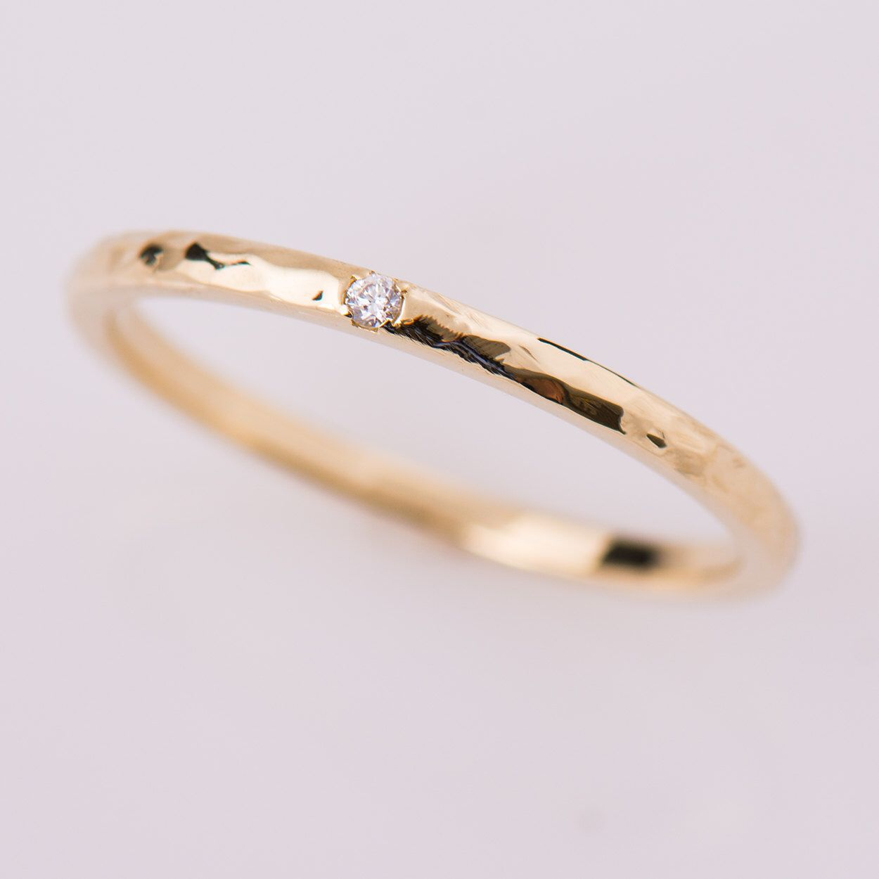 Hammered Textured Band, Single Diamond Ring, 14K Yellow Gold ...