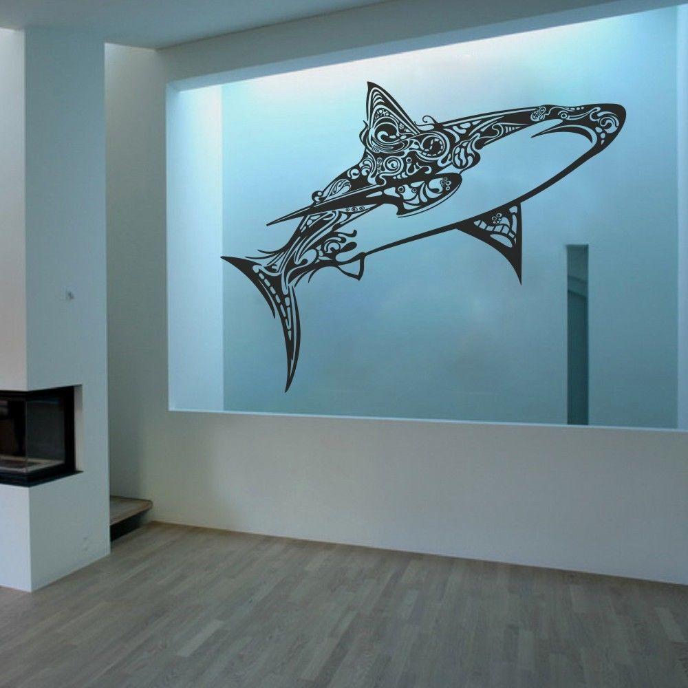 Under sea jaws shark wall decal inspiration ocean removable vinyl
