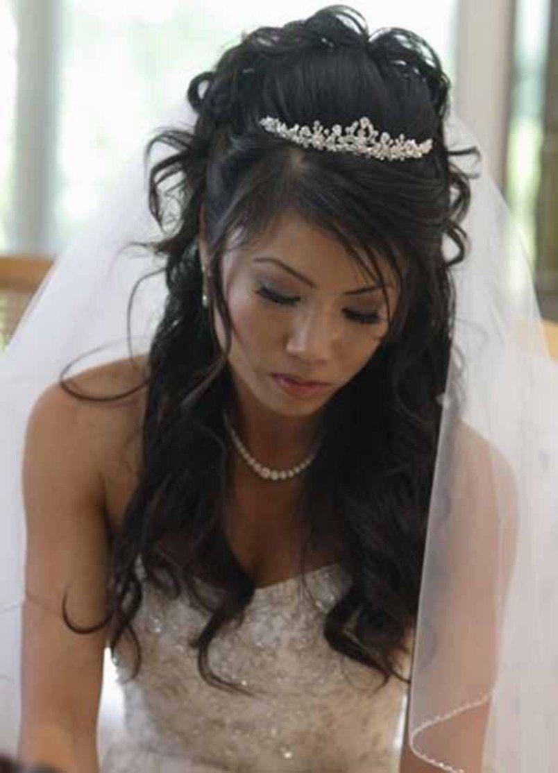 half up half down wedding hairstyles with tiara and veil   wedding