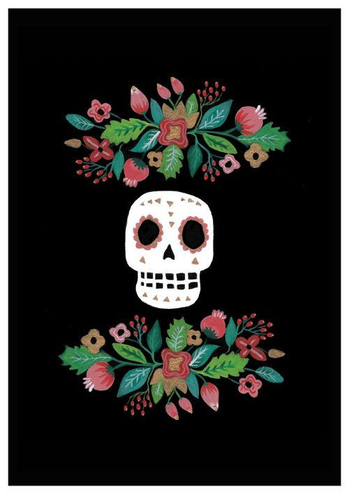 Mexican Skull Art Folk Floral Day Of