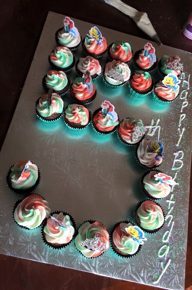 Excellent Number 5 Birthday Cupcake Cake For A Little Mermaid Themed Party Funny Birthday Cards Online Elaedamsfinfo