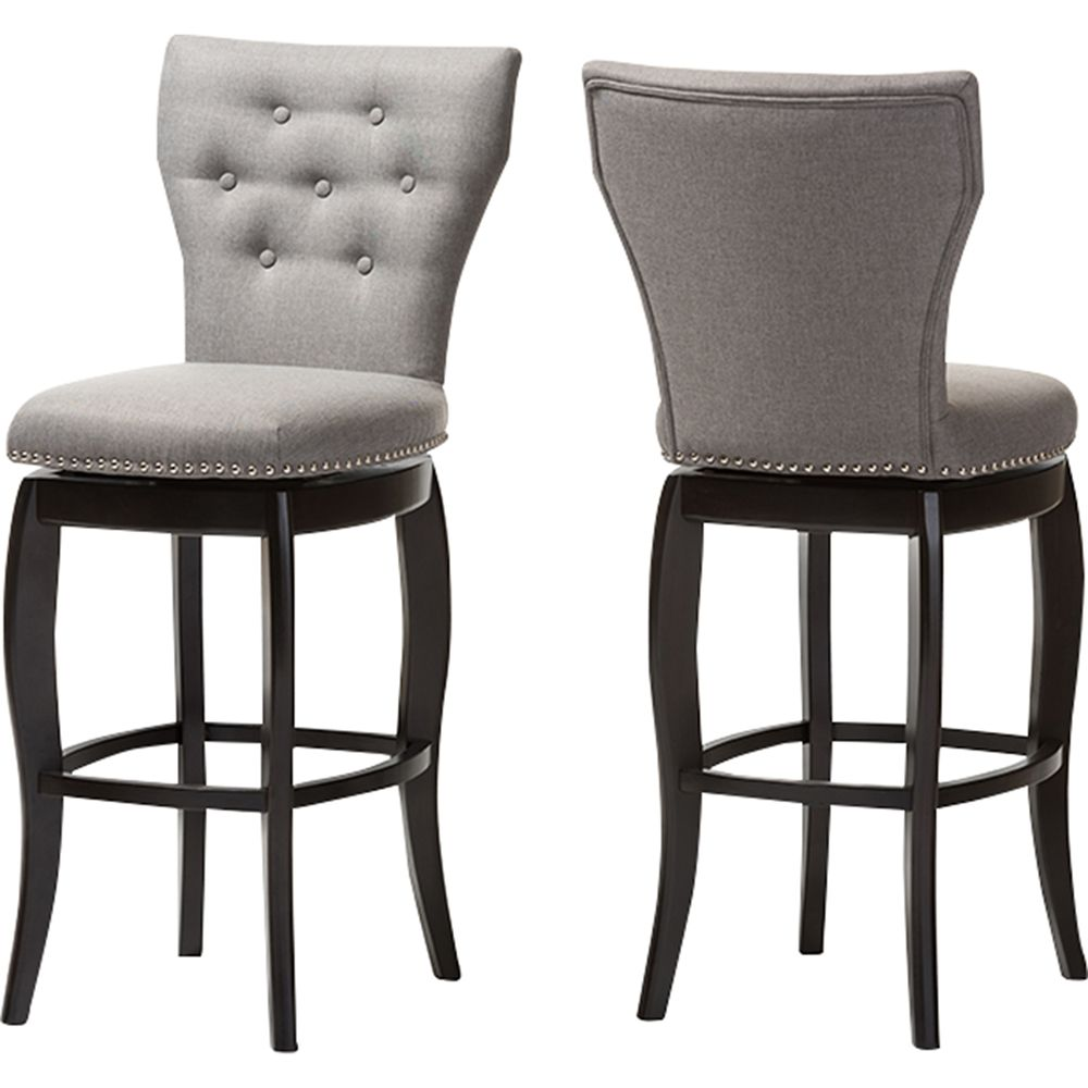 Leonice Upholstered Swivel Bar Stool Button Tufted Gray