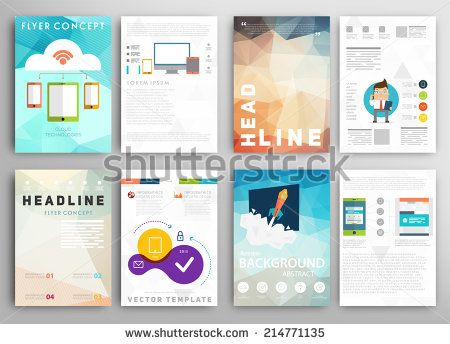 set of flyer brochure design templates mobile technologies applications and online services concept buy this stock vector on shutterstock find other - Flyer Muster