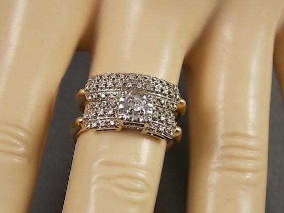 1940s Wedding Ring Set.16Ctw Yellow Gold 14K by estatejewelryshop