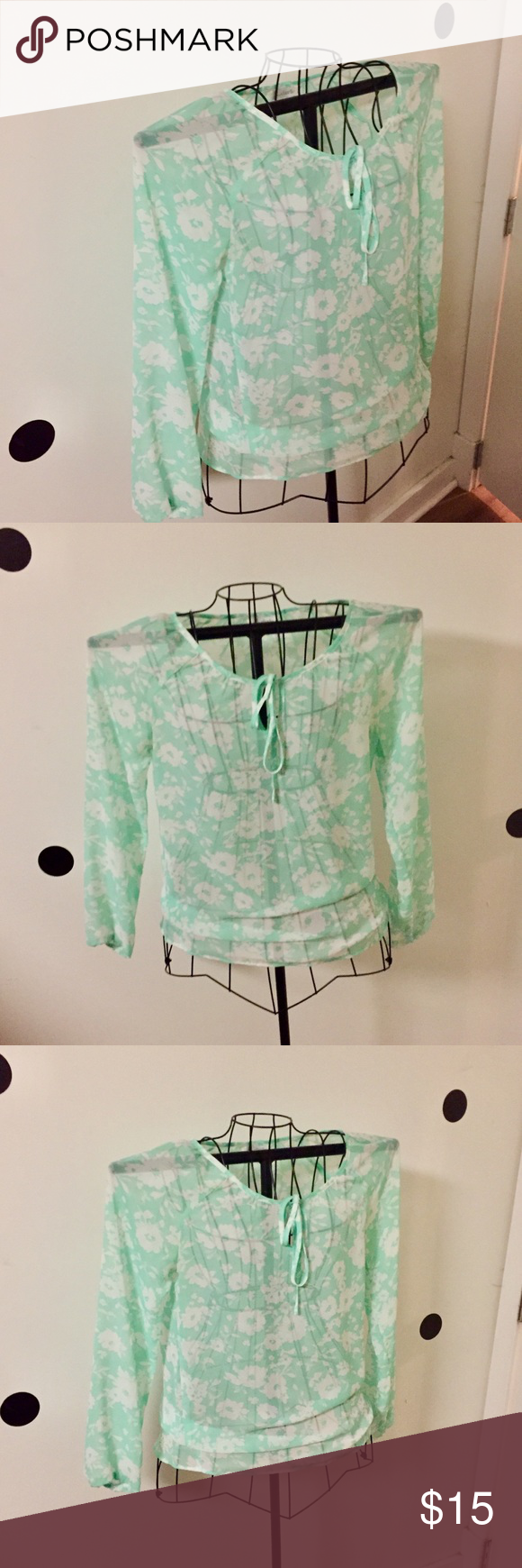 3410af79c34 Charming Charlie Mint Front Tie Blouse This blouse has a tie in the front  (shown