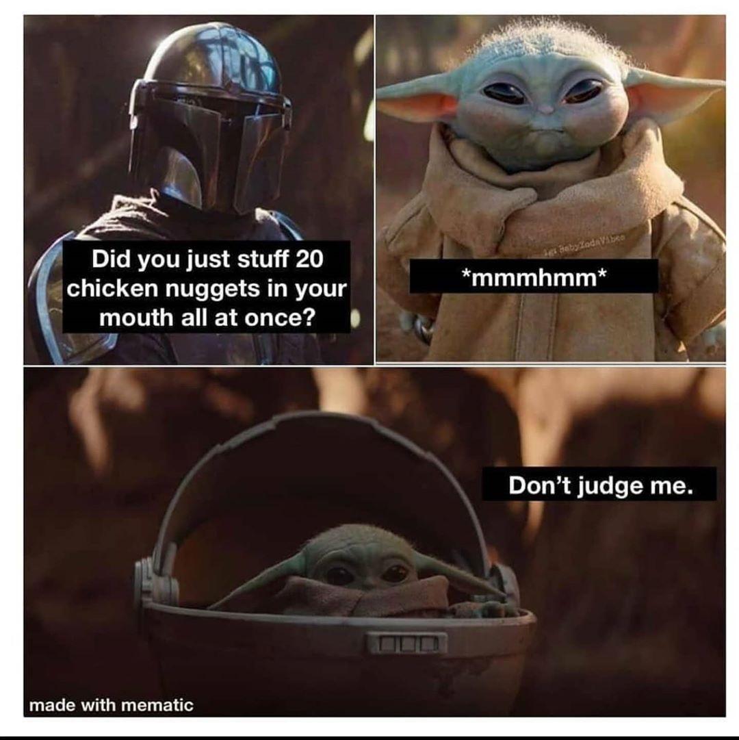 Baby Yoda On Instagram High In Protein It Is Yoda Funny Yoda Meme Star Wars Humor