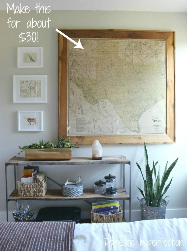 $30 Giant Map Decor. Diy Framed Wall ArtLarge ...