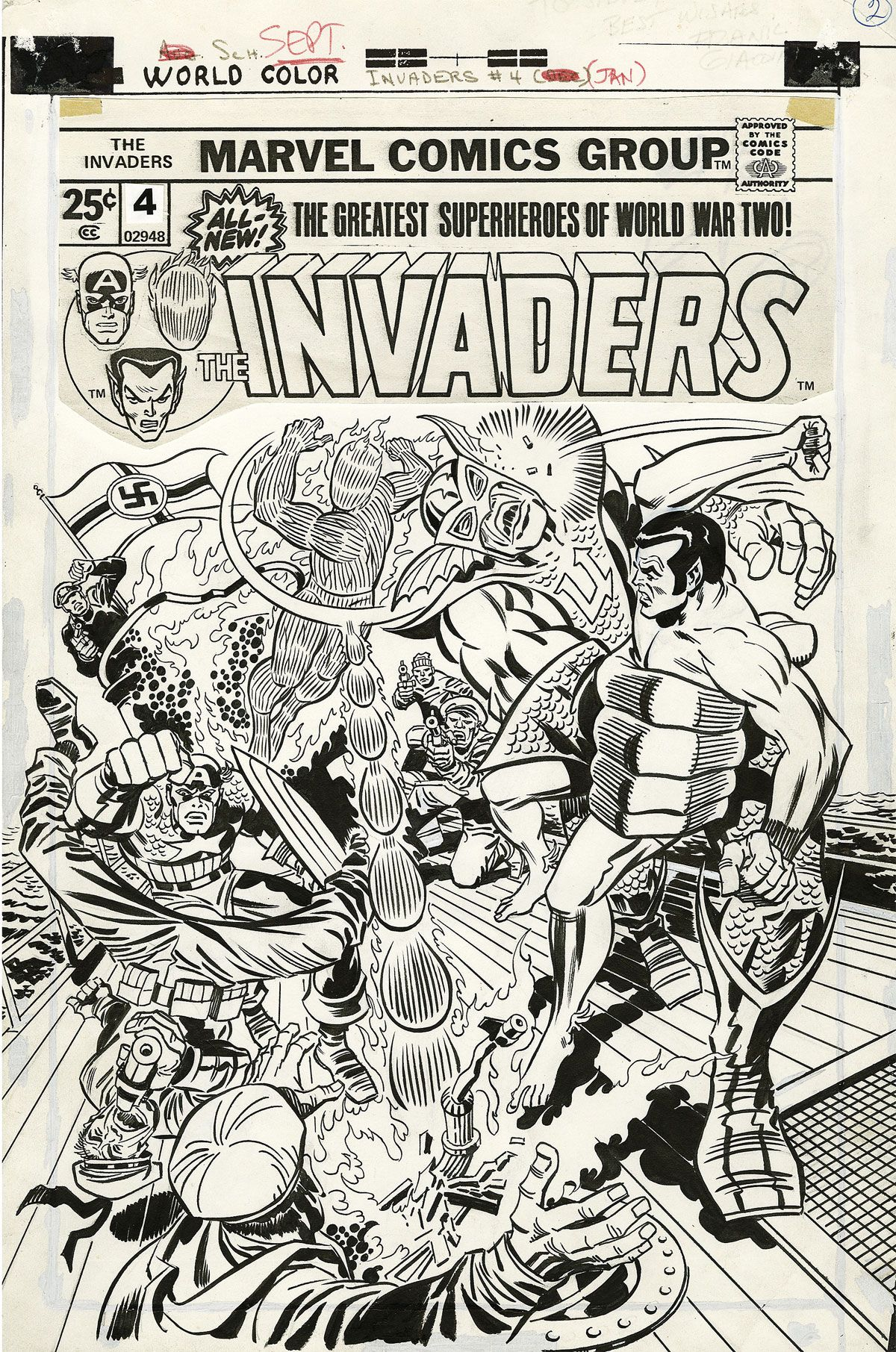 Original Art - Invaders # 04 Cover (1976) by Jack Kirby And Frank Giacoia