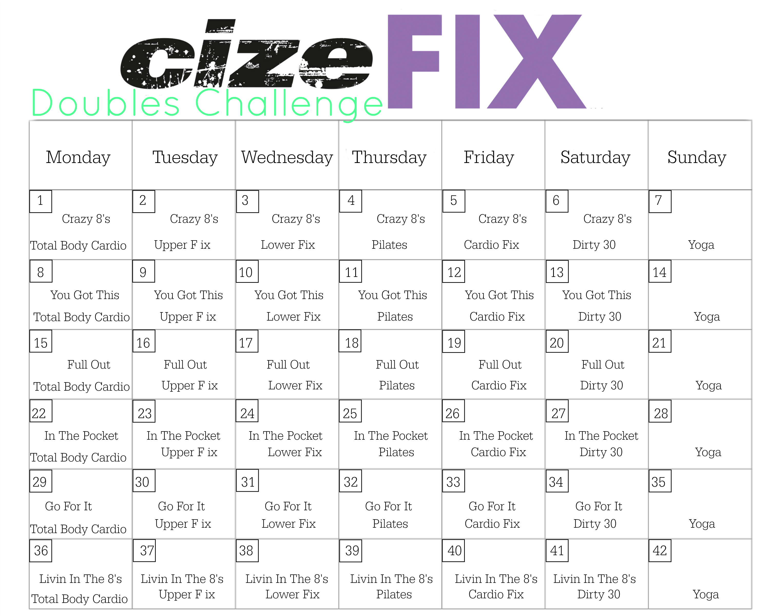 Week CizeFix Challenge  Beachbody St And Workout