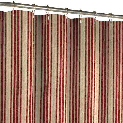 Maytex Sorrento Stripe Fabric Shower Curtain, Burgundy By