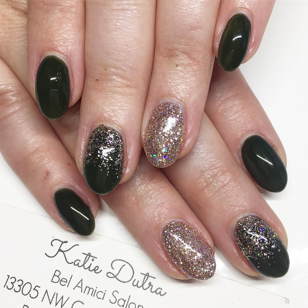 Dark green and rose gold nails - Nails By Katie Dutra | Nails by ...