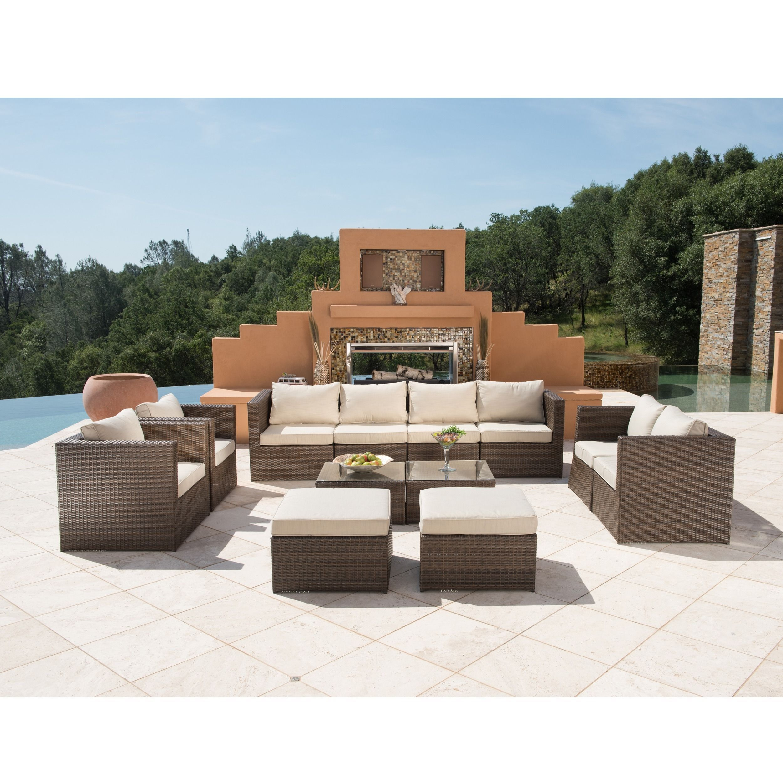 Corvus Trey Outdoor 12 Piece Brown Wicker Furniture Set With Glass Top  (MS082R1), Beige, Size 12 Piece Sets, Patio Furniture