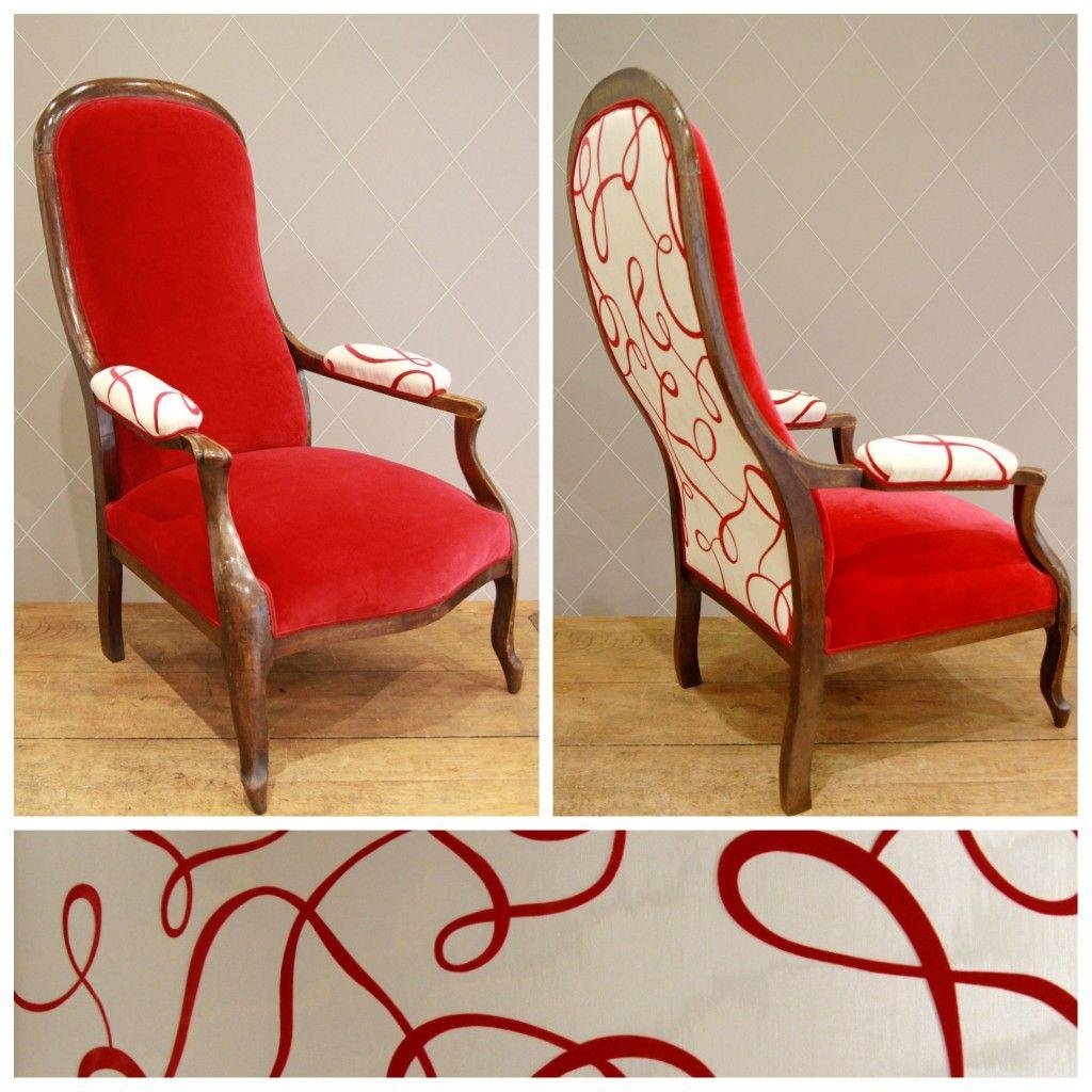 Voltaire En Volutes Rouges Fauteuil Deco Meuble Deco Mobilier De Salon