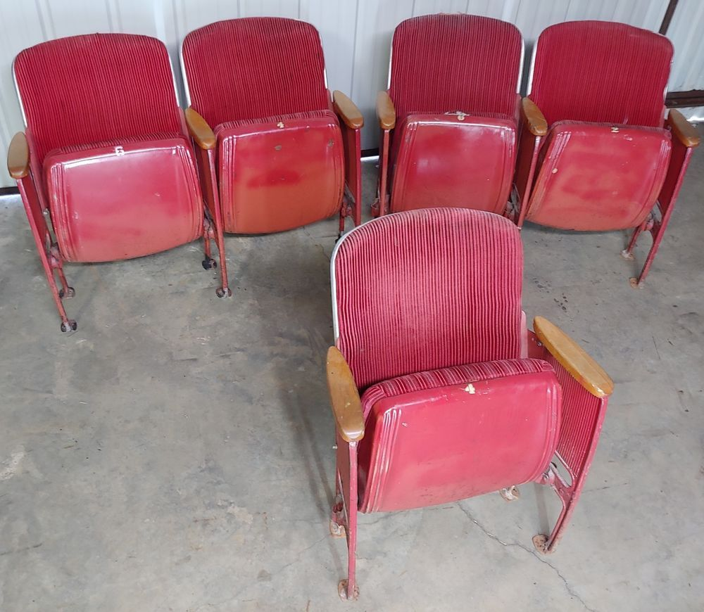 Awesome Vintage 1950S Theatre Seating Seats Auditorium Velour Caraccident5 Cool Chair Designs And Ideas Caraccident5Info