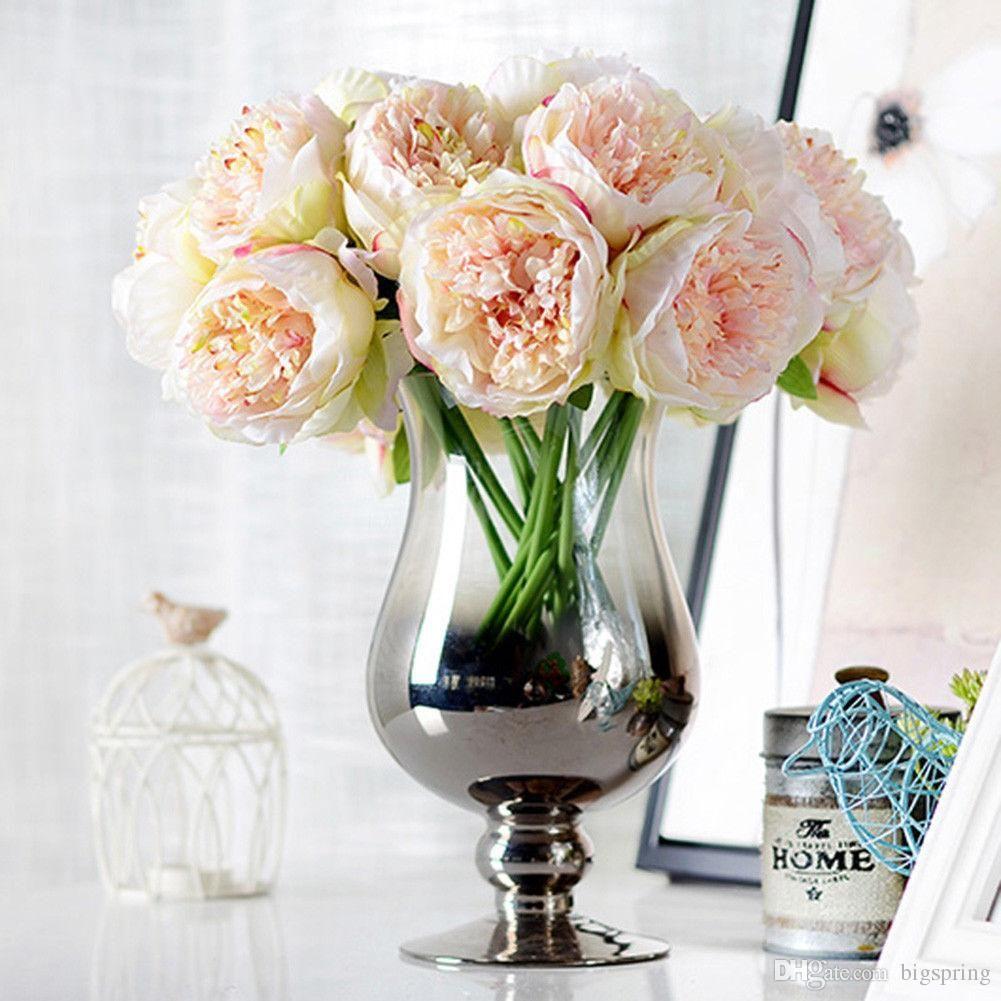 Hot Bouquet Artificial Fake Peony Silk Flower Bridal Hydrangea Home