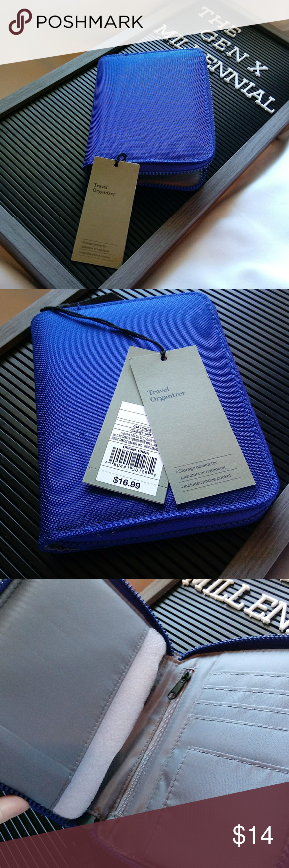 Blue Travel Organizer Wallet with Phone Pocket This