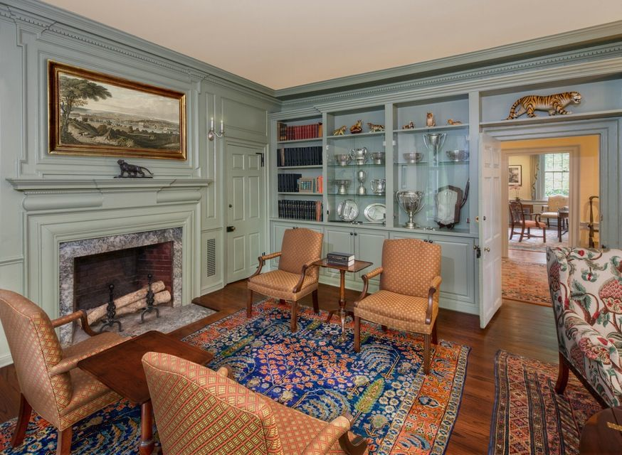 "Barbara Eberlein, of Eberlein Design, on Farrow & Ball's Lichen No. 19: ""We used this color in Princeton University's Maclean House, which is the residence for the University President. The home was originally built in 1756, and this color was in keeping with the 18th century color palette. It enhances the vibrant colors in the carpet and upholstery."""