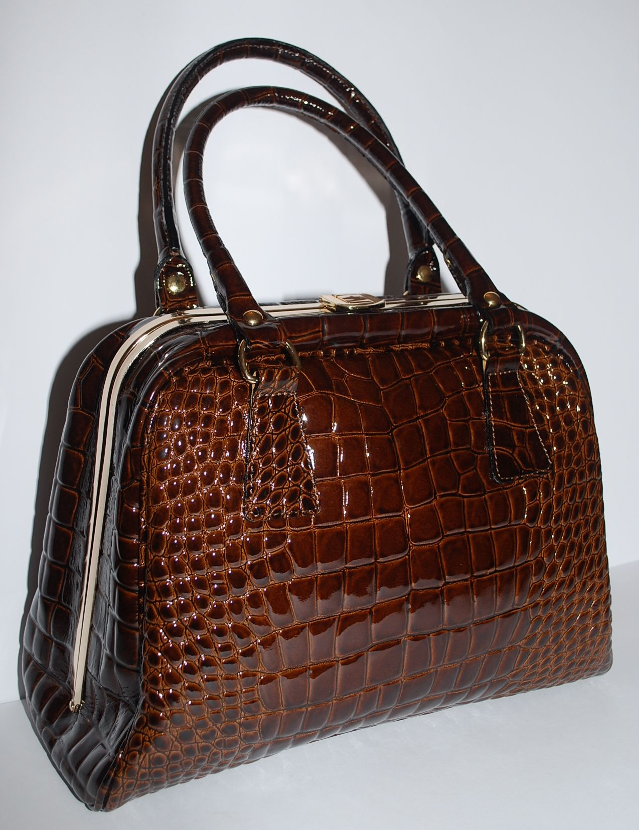 Brown Patent Mock Croc Leather Borse In Pelle Italian Handbag