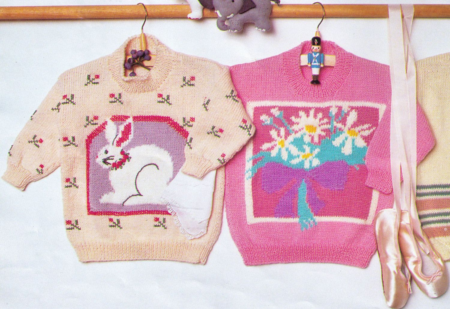 Easter or spring rabbit and flowers winter jumper for children easter or spring rabbit and flowers winter jumper for children girls sizes 52 62 cms 8 ply dk great gift knitting pdf instant pattern negle Image collections