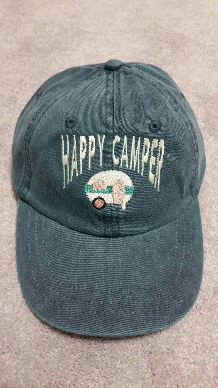 MOTORHOME HAT CAP CAMPING BASEBALL CAP CAMPERVAN 5 PANEL HAPPY CAMPER
