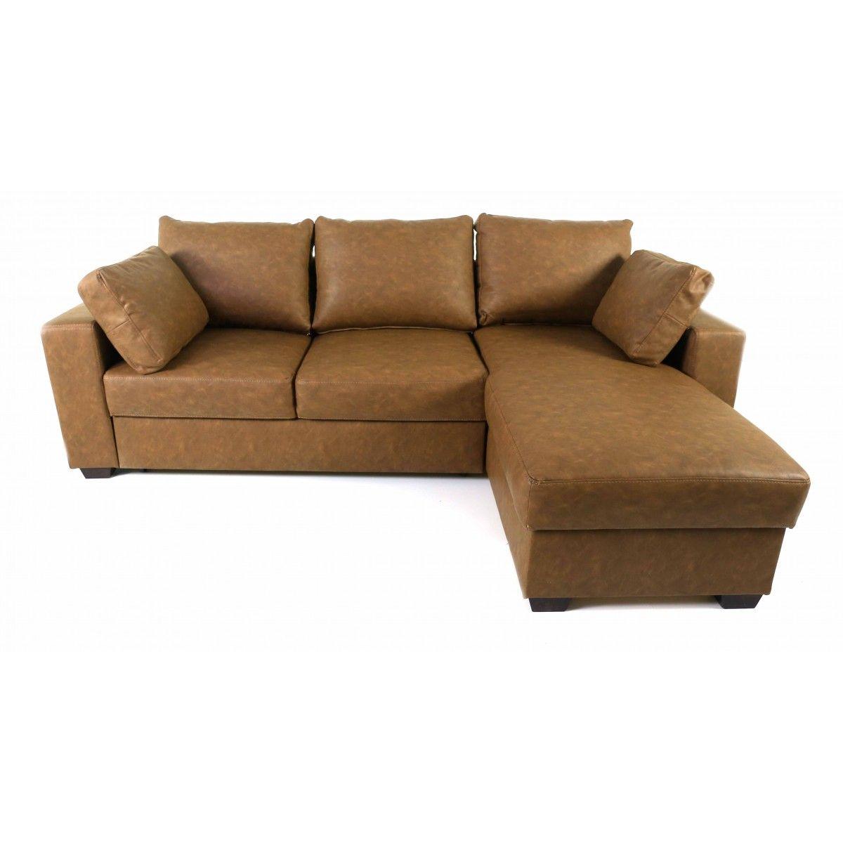 Canapé d angle convertible simili cuir chocolat Vintage
