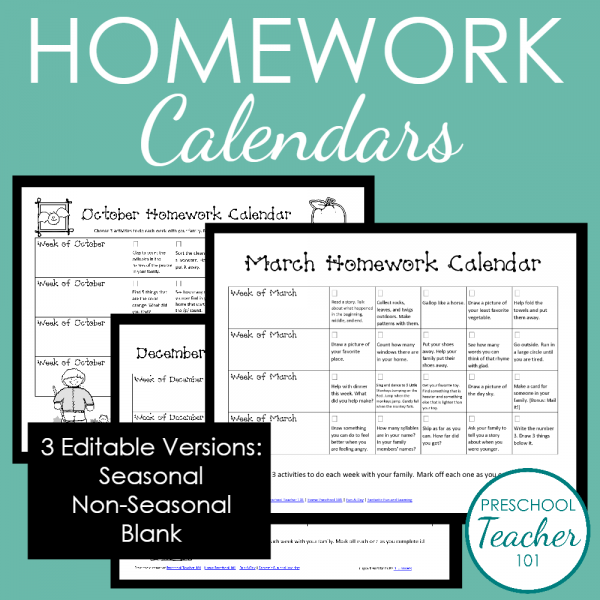 PtPreschool Homework Calendars For Mem Page  Classroom