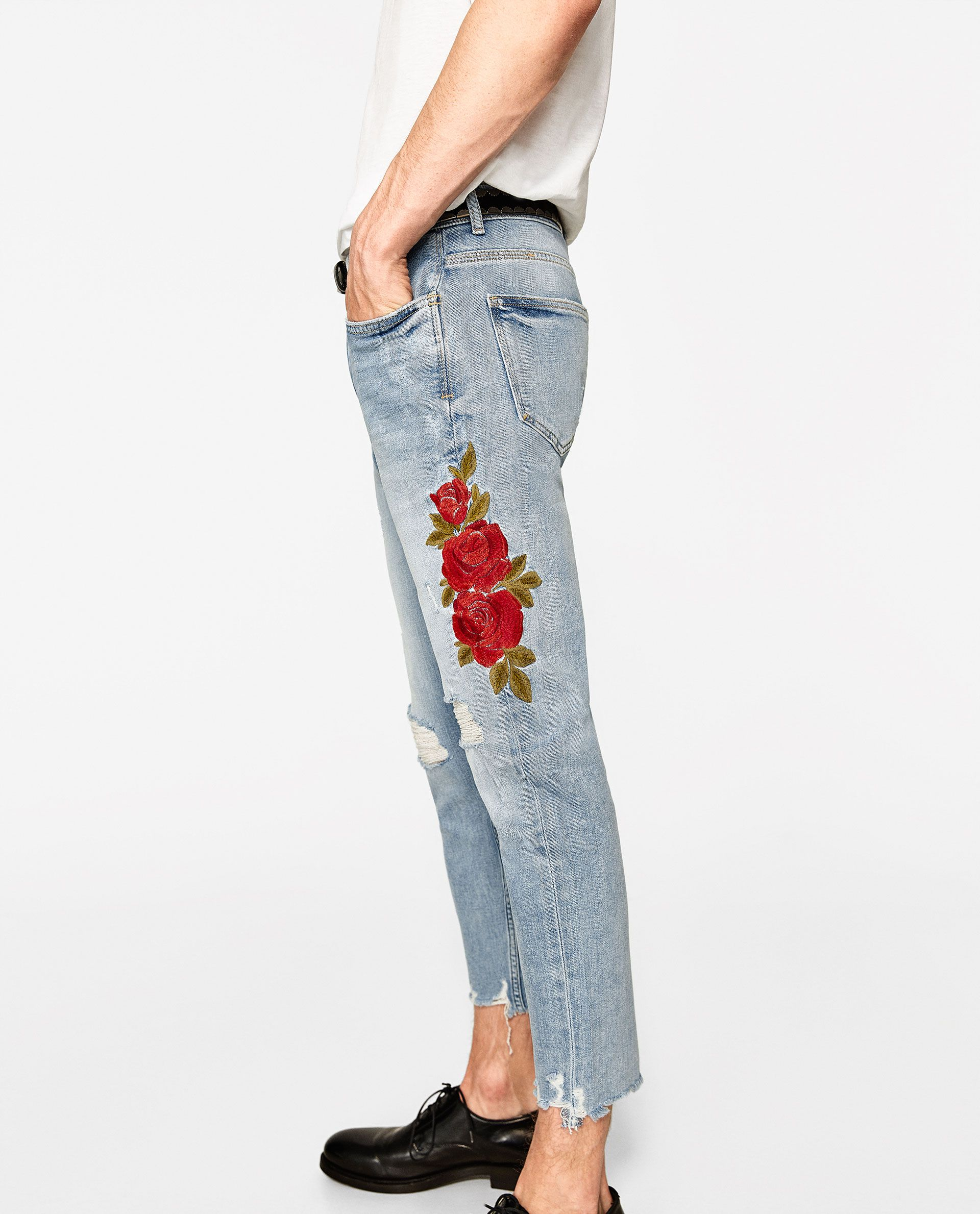 b620e9e4b0 ZARA Embroidered Jeans