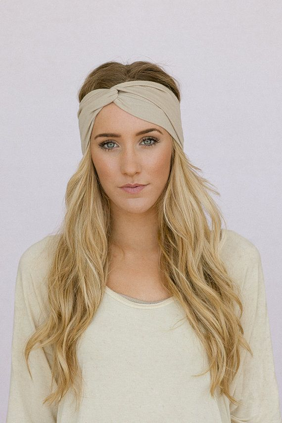 Turban Headband Women's Solid Jersey Turban Hair Band, Headband Head Wrap with Twisted Center for Women and Girls in Taupe (HB-161)