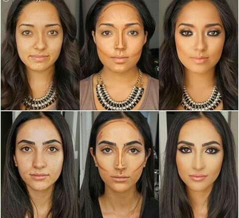 Contorneado de rostro antes y después.