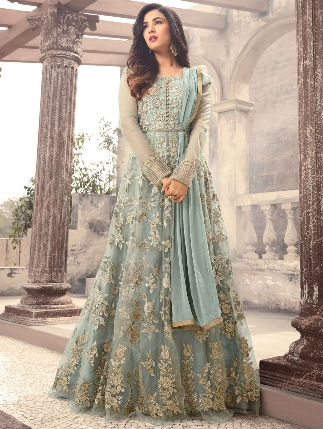 044d82f3ff Buy Embroidered Semi-stitched Flared Suit by Bhumik Enterprise - Online  shopping for Semi-stitched Suits in India | 15277816