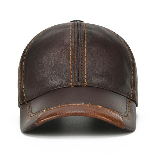 48791253 Mens Cowhide Leather Baseball Cap Casual Cosy High Quality Sunshade ...