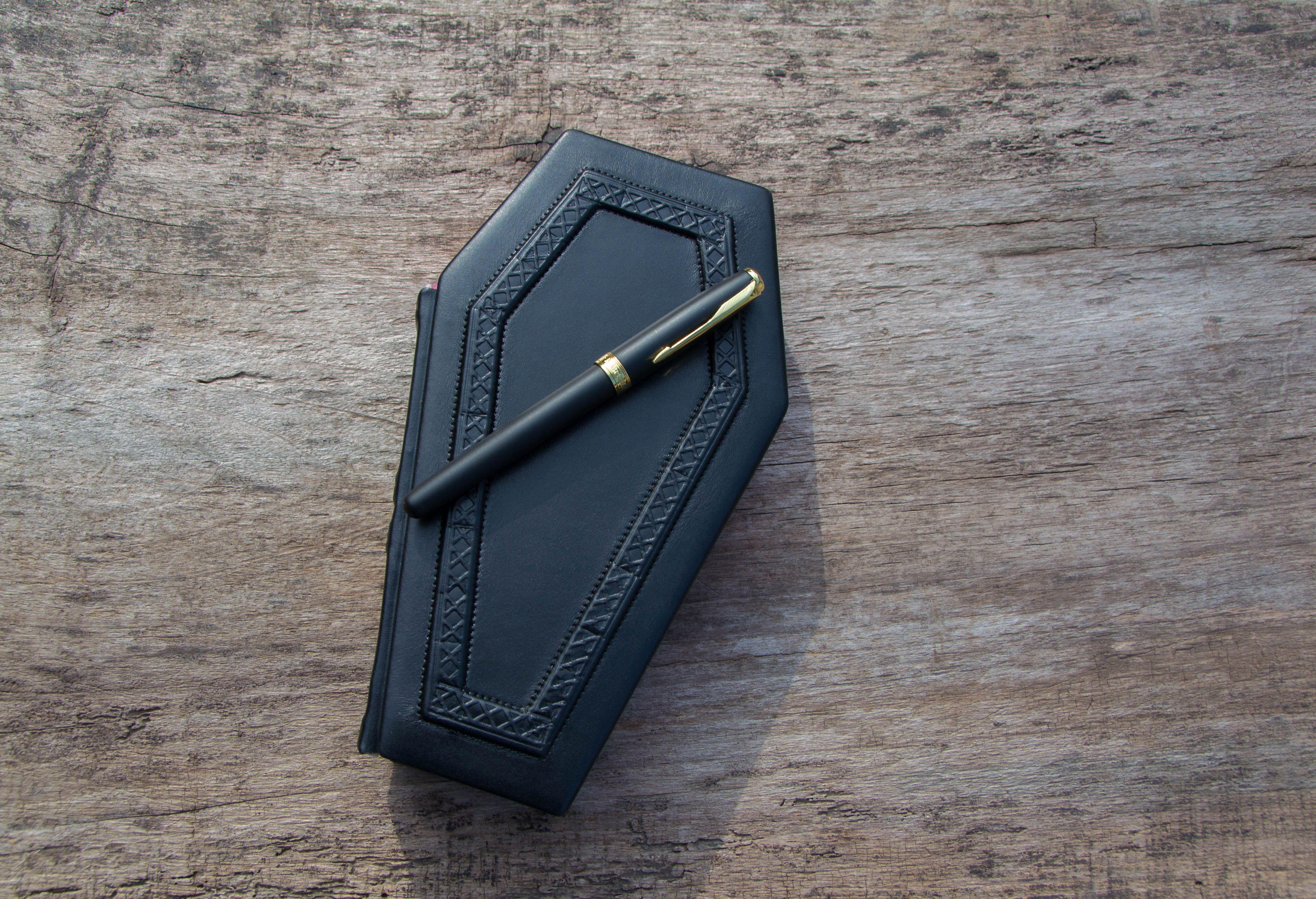 Leather coffin journal handmade vampire diary friend