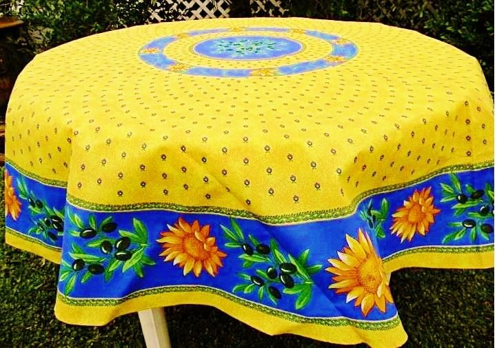 Sunflower Blue Coated Cotton Provence Tablecloth Le Cluny Cotton Tablecloths