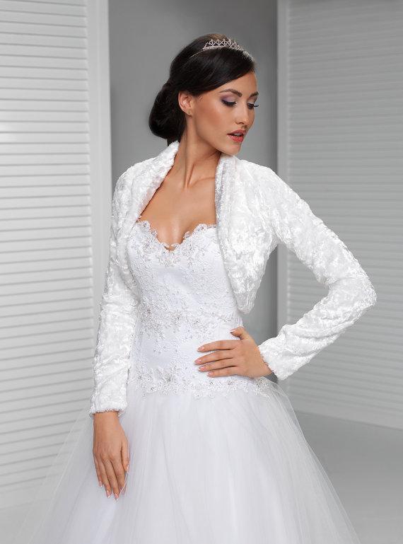 Long Sleeve Winter Bridal Wrap Warm Velvet Bolero Bridal Coat ...