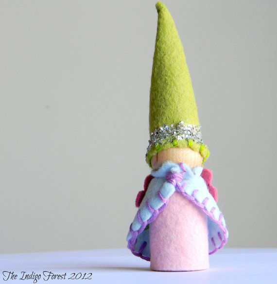 Waldorf Inspired Sparkling Summer Wood Gnome by theindigoforest, $8.00
