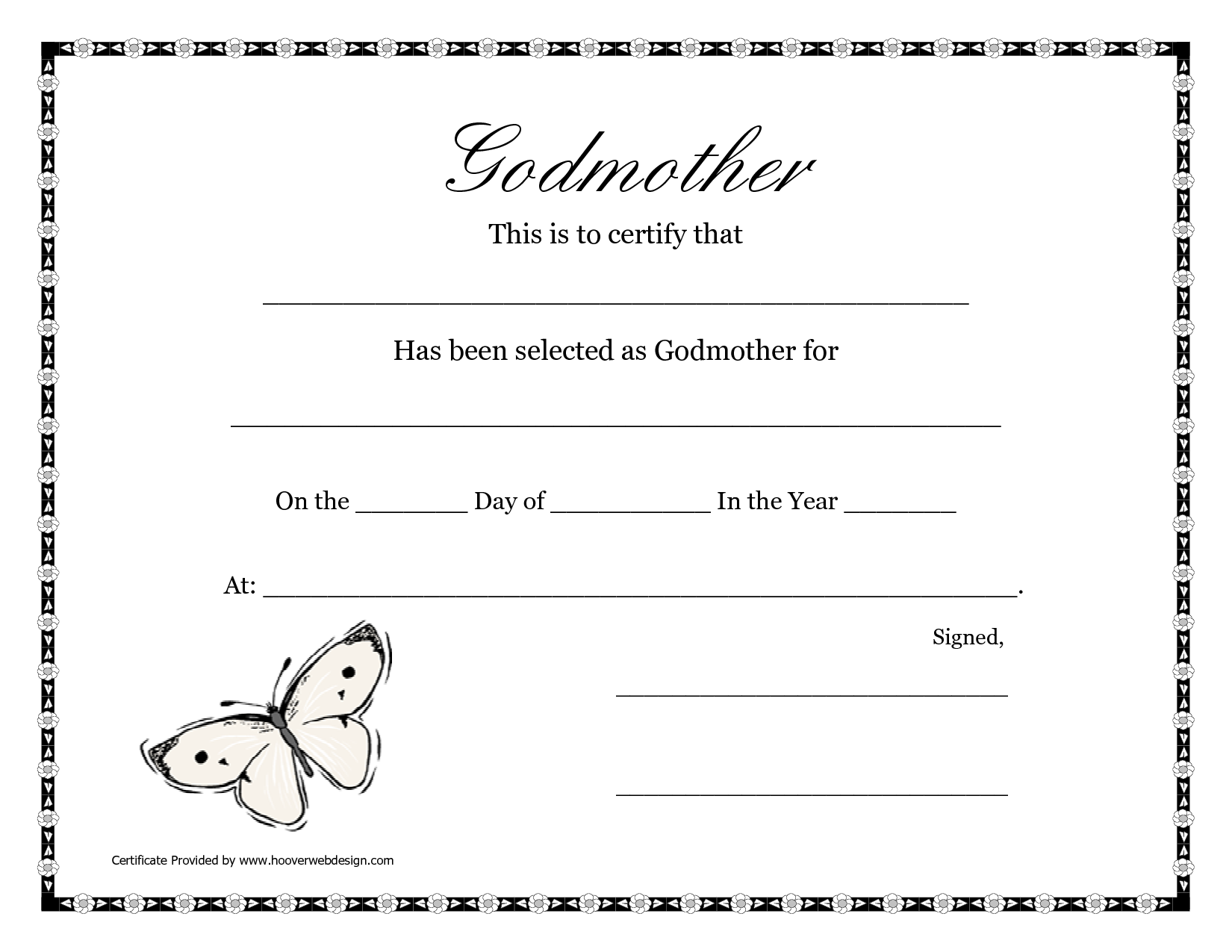 free printable godparent certificates printable