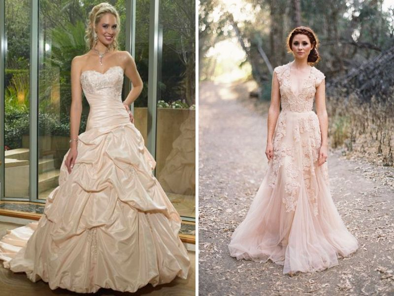 Very Informative Guide White Vs Ivory What S The Best Color For Your Skin Tone Wedding Dr Colored Wedding Dresses Yellow Wedding Dress White Wedding Dresses