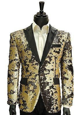 Angelino Mens Gold Black Sequin Shimmer Trendy Formal Dress Party ...
