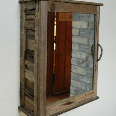 Driftwood Cabinet With Mirror Rope Handle Driftwood Bathroom