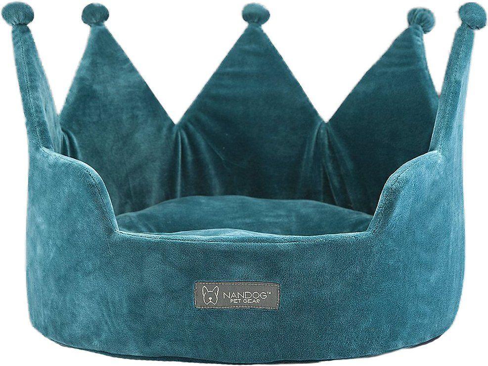 Nandog Crown Small Dog & Cat Bed, Teal Cat