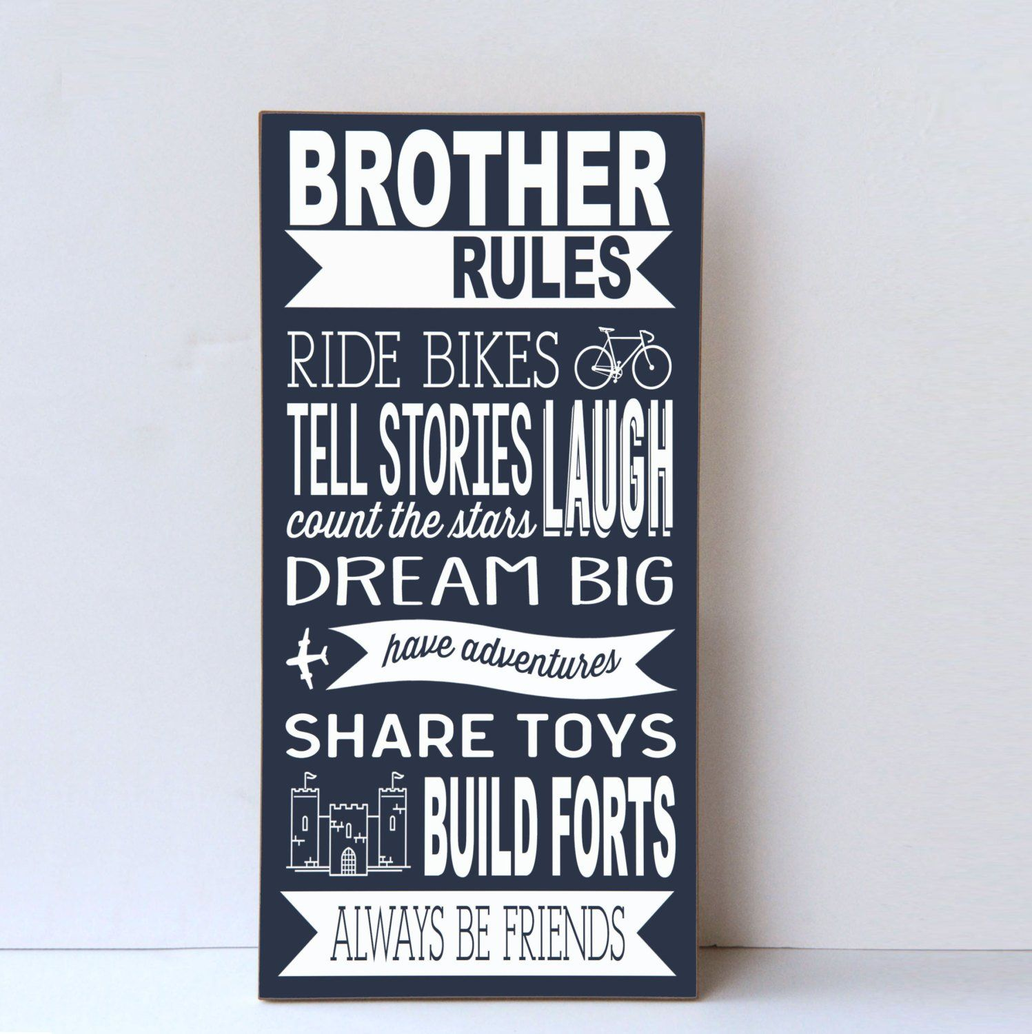 Brother Rules Wood Sign Brother Sign Playroom Wall Art Etsy Boys Room Decor Kids Room Paint Playroom Wall