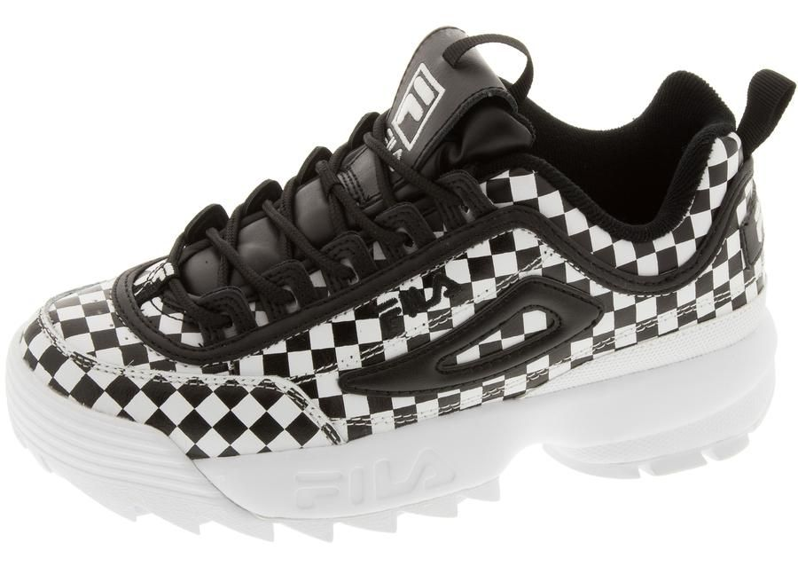 FILA Womens Disruptor II Checker Black Black White in 2019