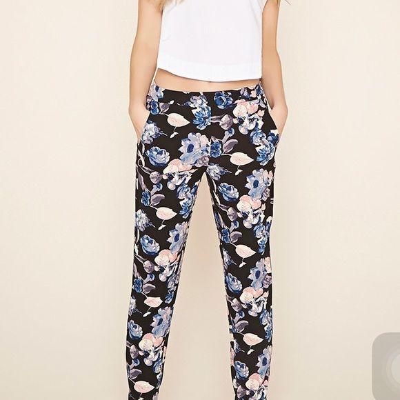 Floral print woven joggers❤️ Comfy joggers❤️ Forever 21 Pants Track Pants & Joggers