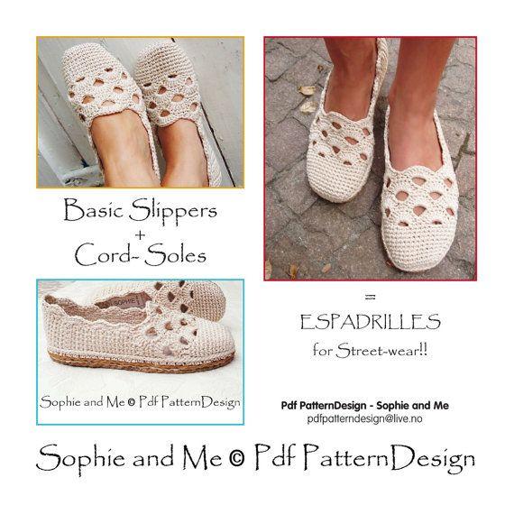 Venezia zapatillas Basic Crochet patrón por PdfPatternDesign | del 7 ...